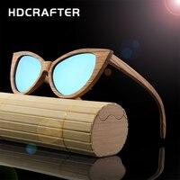 New Arrival HDCRAFTER Wood Sunglasses Women Handmade Cat Eye Sun Glasses Vintage Polarized Bamboo Sun Glasses