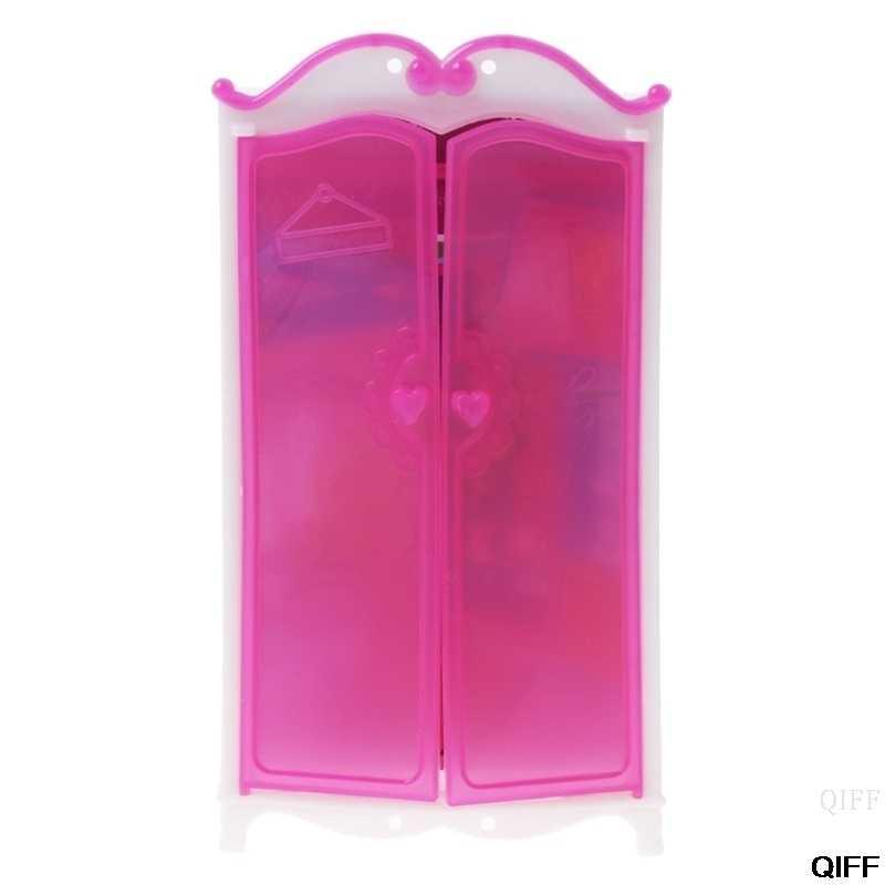 Princesa móveis guarda-roupa barbie bonecas brinquedos casa de boneca armário acessórios de brinquedo