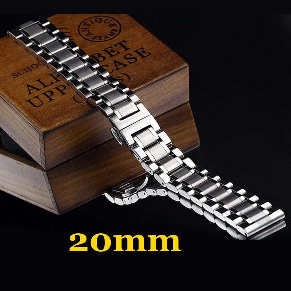 Silver Stainless Steel Band 20mm Solid Mens Wrist Watch Band Strap Watchband Replace Watch Straps de reloj Free Shipping watch band 22mm new mens black pure polished solid stainless steel watch bands strap bracelets free shipping