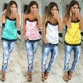 Hot Sale 2017 New Fashion sexy Camis Mulheres sólidos Casual lace patchwork Tanque Colete Top Sem Mangas Tanques Mulher