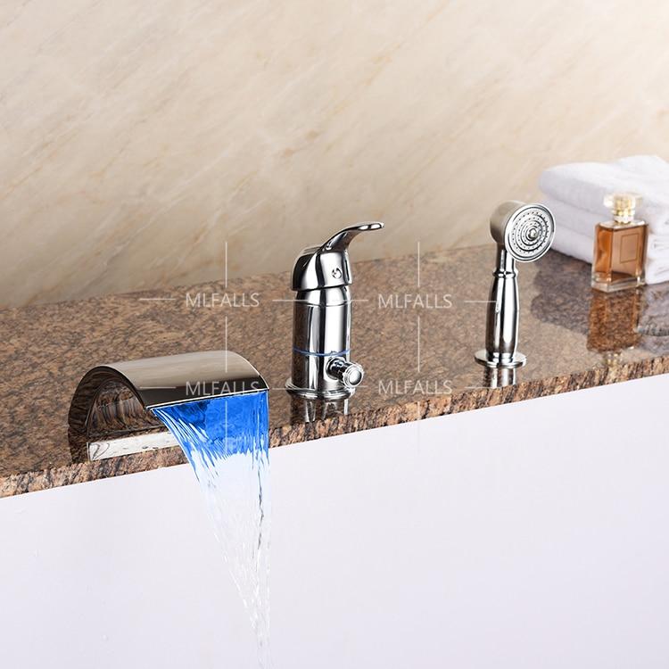 three piece bathroom faucet. Waterfall Bathtub Faucet Brass Chrome Body Suit Five Holes With  3 Piece Mesmerizing Three Bathroom Photos Best idea home