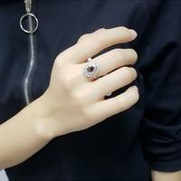 Black/Blue/Purple Natural Rainbow Crystal Women Vintage Ring 925 Sterling Silver Female Retro Luxury Ring OL Elegant Accessories
