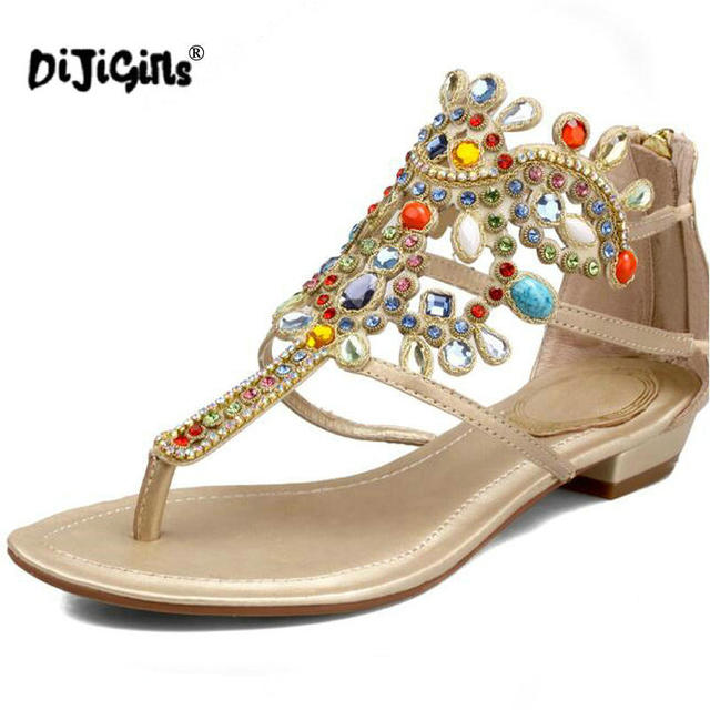5cfd6465707cb DIJIGIRLS Genuine leather Bohemian style Sandals Women Indian ethnic style  Big size 43 Rhinestone summer shoes for Europe women. Anniversary Sale US  ...