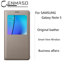 CENMASO Original For Samsung Galaxy Note 5 Official Case Clear Mirror View Smart Cover For Galaxy