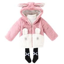 Winter Fashion Thicken Cotton Warm Child Coat Cartoon Rabbit Baby Girls Jackets Patchwork Children Outerwear For 3-14 Years Old