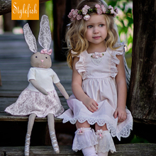 2017 New Girls European And American Style children's Clothing Summer Cotton Backless Lace Dress Hot Sale