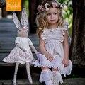 2017 Nuevas Muchachas ropa del Verano de Algodón de Estilo Europeo Y Americano de Encaje Sin Espalda Vestido de La Venta Caliente