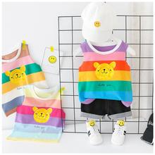 2019 Summer Baby Boys Girls  Clothing Sets Kids Children Clothes Suits Striped Bear T Shirt  Shorts Infant Toddler Casual Suit bear leader kids clothes 2018 fashion sleeveless summer style baby girls shirt shorts belt 3pcs suit children clothing sets