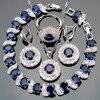 New Blue Sapphire White 925 Sterling Silver Topaz Ewelry Sets Earrings Pendant Necklace Rings Bracelets For
