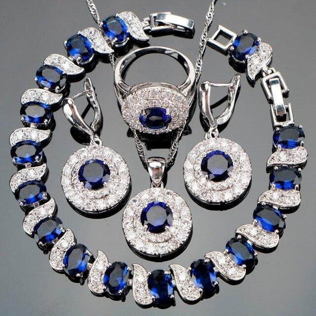 כחול זירקון כלה סטי 925 תכשיטי כסף נשים עגילי טבעת תליון ושרשרת עם קופסא מתנת תכשיטי צמידי אבנים טבעיות