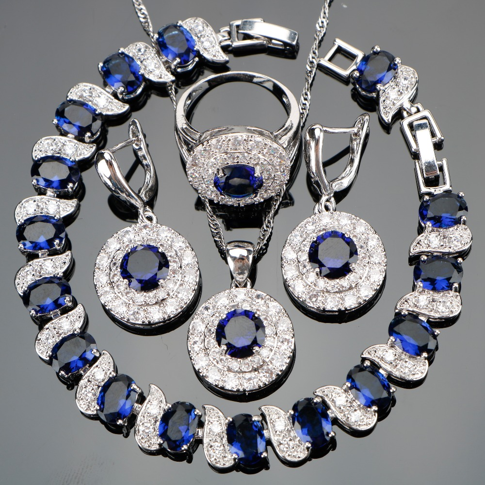 SexeMara Blue CZ White Rhinestones Costume Silver For Women
