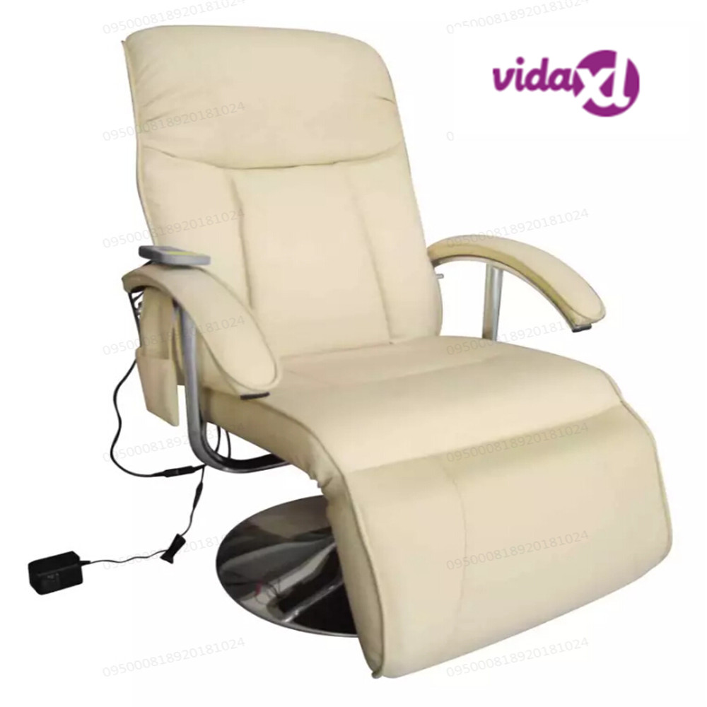 VidaXL Electric Massage Chair Artificial Leather Cream Luxury Full Body Massage Chair Body Neck Relax Massage Chair For Home
