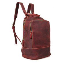 Men Backpacks Crazy Horse Genuine Leather Men Bag Men's Travel Bag Leather 14inch Laptop Backpack School Backpack for Teenager