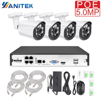 Yanitek 4CH CCTV Surveillance Kit HD H.265 5MP 4MP 3MP Outdoor Security Camera System with 4PCS POE IP Camera Video System P2P