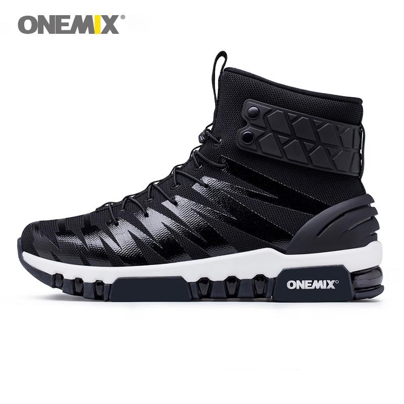 Onemix new cool high boots for men running shoes women walk sneakers foot top outdoor trekking black white keep warm windproof