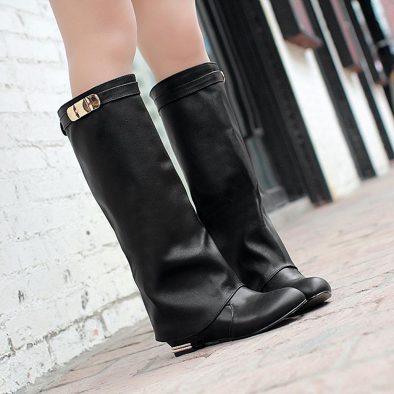 New 2016 Plus size 34-43 HOT sale brand fashion women motorcycle boots leather wedges shoes woman autumn winter knee boots led suction dome light fashion cartoon study bedroom children s room lights