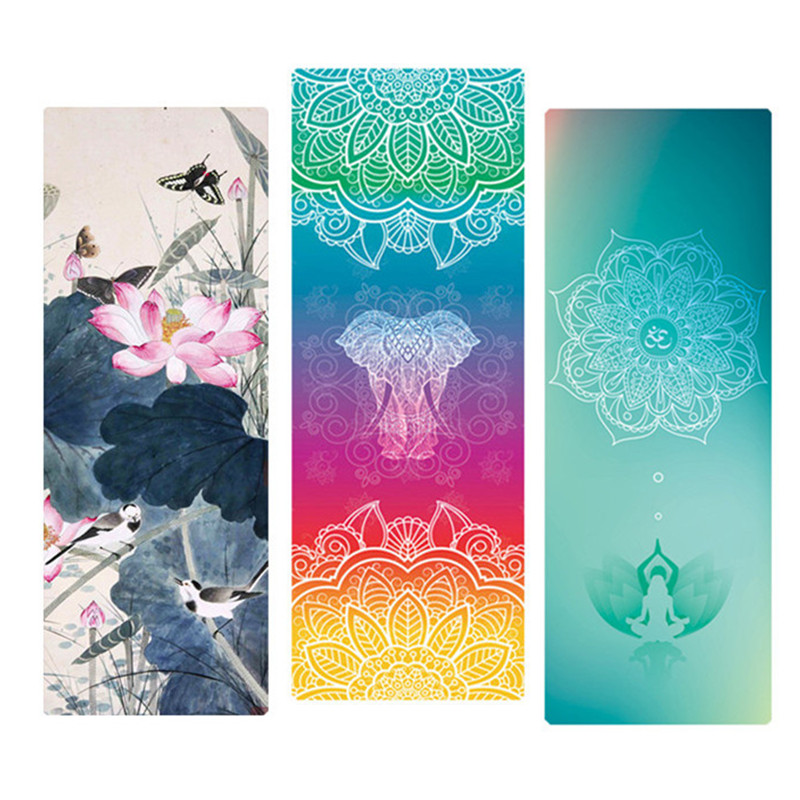Printed Yoga Mat Natural Rubber 183*68cm*1.5mm Anti Slip Foldable Goodgrip Exercise Mat For Fitness Pilates Gymnastic Travel Mat chastep natural pvc yoga mat anti slip sweat absorption 183 61cm 6mm yoga pad fitness gym pilates sports exercise pad yoga mats