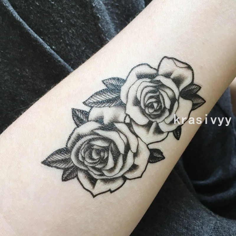 7964ee9e8 ... New arrive Waterproof Temporary Tattoo Sticker 10.5*6 cm cute black rose  Tattoo water transfer ...