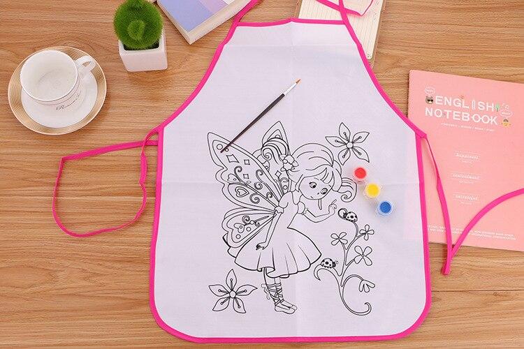 April Du Hand-painted DIY blank apron smock Kindergarten handmade doodle painting coloring art material bag,38cm*48cm,20pcs