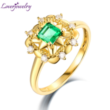 Special Design Natural Diamond Colombia Emerald Ring Real 14Kt Yellow Gold for Mom Birthday Fine Jewelry