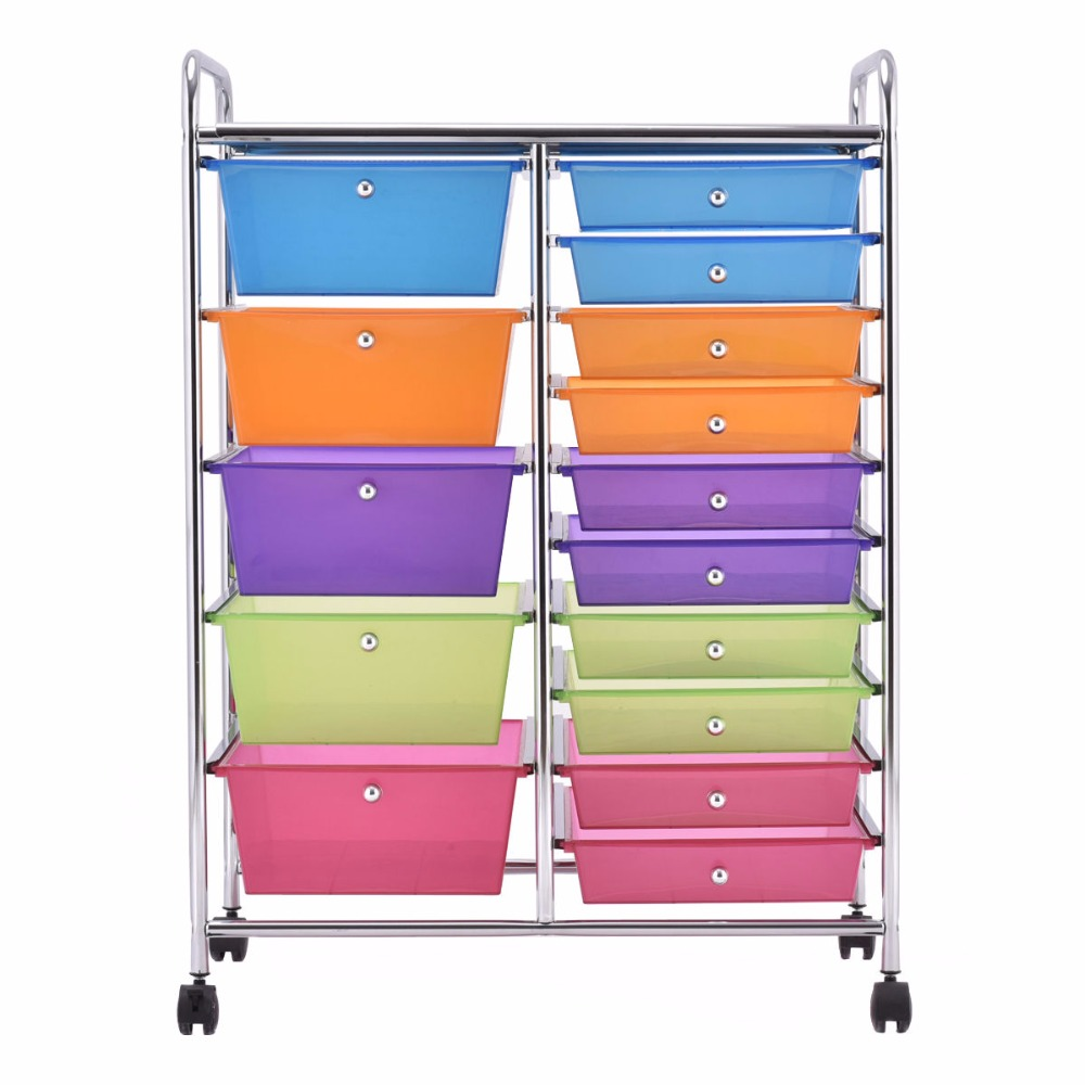 Hot Sale Giantex 15 Drawer Rolling Storage Cart Tools Scrapbook