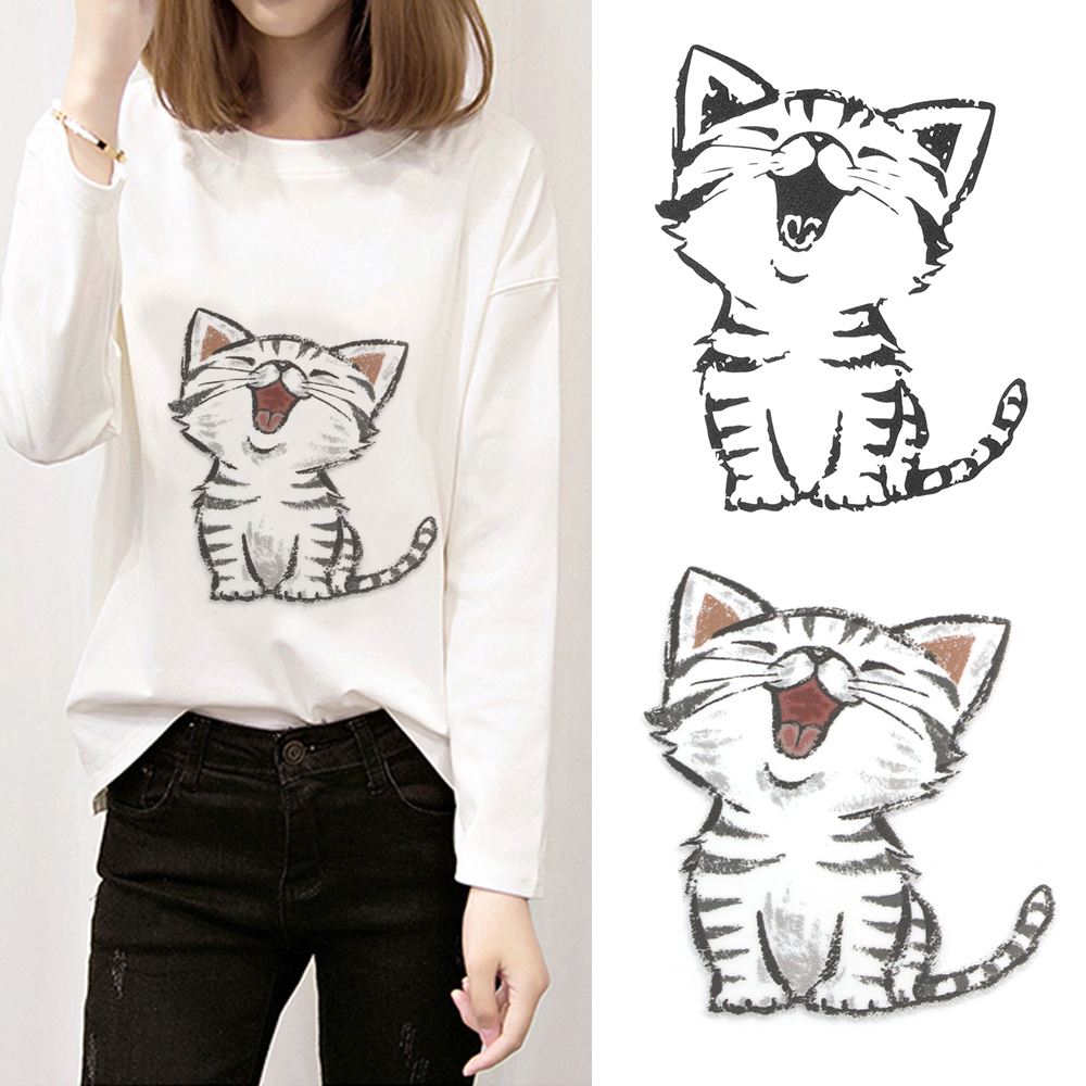 Cute cat kitty cartoon iron patches t shirt dresses decoration heat transfer stickers print on clothes a level washable