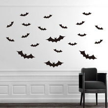 3d DIY Halloween Party Black 3D Decorative Bats Wall Sticker Halloween eve decor Home Decoration 1200 pieces newest wall sticker black 3d diy pvc bat wall sticker decal home halloween decoration