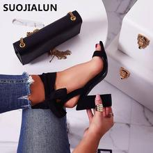SUOJIALUN 2019 Women High Heels Sandals Peep-toe Lace-up Pumps Classic Leopard Print Black Casual Round Toe 8CM