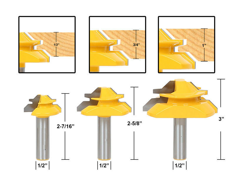 3pcs/set Architectural Specialty Molding Router Bit set 1/2 Shank woodworking milling cutter cnc/milling tools/end mill high grade carbide alloy 1 2 shank 2 1 4 dia bottom cleaning router bit woodworking milling cutter for mdf wood 55mm mayitr
