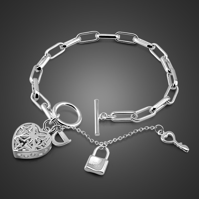 Fashionable silver heart-shaped pendant bracelet 925 Sterling silver woman coarse hand catenary solid silver Lady jewelry gift