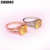 Women Natural citrine rings yellow gem stone genuine solid 925 sterling silver lady Jewelry
