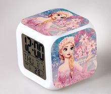 Hot Sales Minecraft Princess Elsa Anna Olaf Digital Alarm Clock Color Changing LED Clock Kids Cartoon
