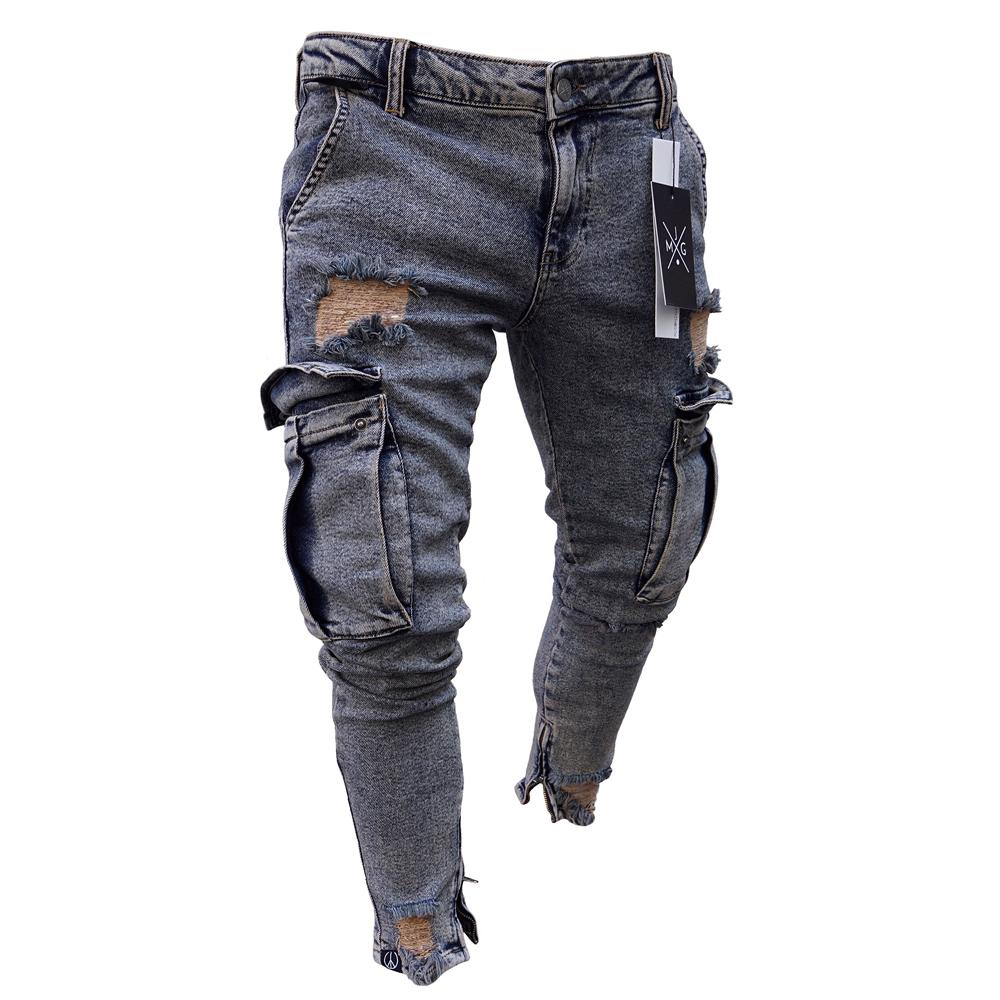 Цвет серый синий мода мужчины'ы тощий разорвал байкер джинсы потертые тонкий Fit с длинным джинсовые брюки отверстие байкер джинсы