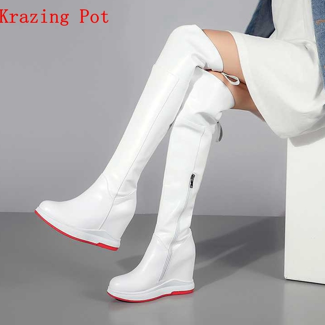 2a01c6644af7 Special Price Krazing Pot 2018 genuine leather round toe streetwear Rome  design leisure long boots zipper ...