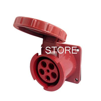 IP67 63A 3P+E+N IEC309-2 Industrial Panel Mount Socket Red w Washer 63a 5pin novel industrial hide direct socket connector sfn 3352 concealed installation socket 3p n e cable connector ip67