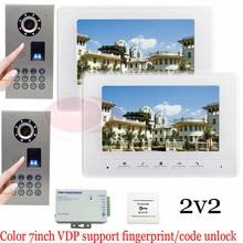 Waterproof(IP65) Fingerprint Fecognition Unlock New Wired 7″ TFT Screen Video Door Phone Intercom Entry System Camera 2v2!