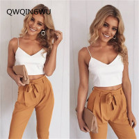 Women Set Deep V Neck Top & Self Belt Zipper Fly Pants Set Women Sleeveless Backless Sexy Two Piece Casual Women Set
