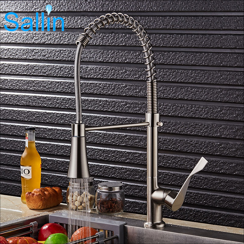 New Arrival Spring Pull Down Kitchen Faucet Brushed Nickel Kitchen Water Faucet Brass Sprayer Head Shower Kitchen Faucet Mixer