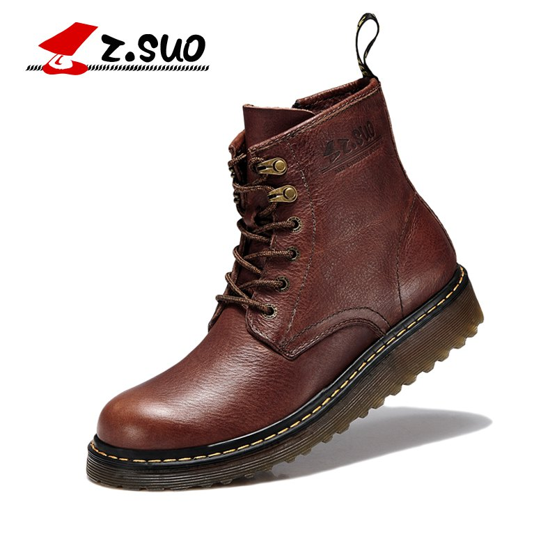 Z. Suo men 's boots, leather Walking Shoes , male winter boots.Pima Ding cargadores z suo men s shoes leather buckles casual men s shoes fashion high pure color for flat shoes with man zs1609