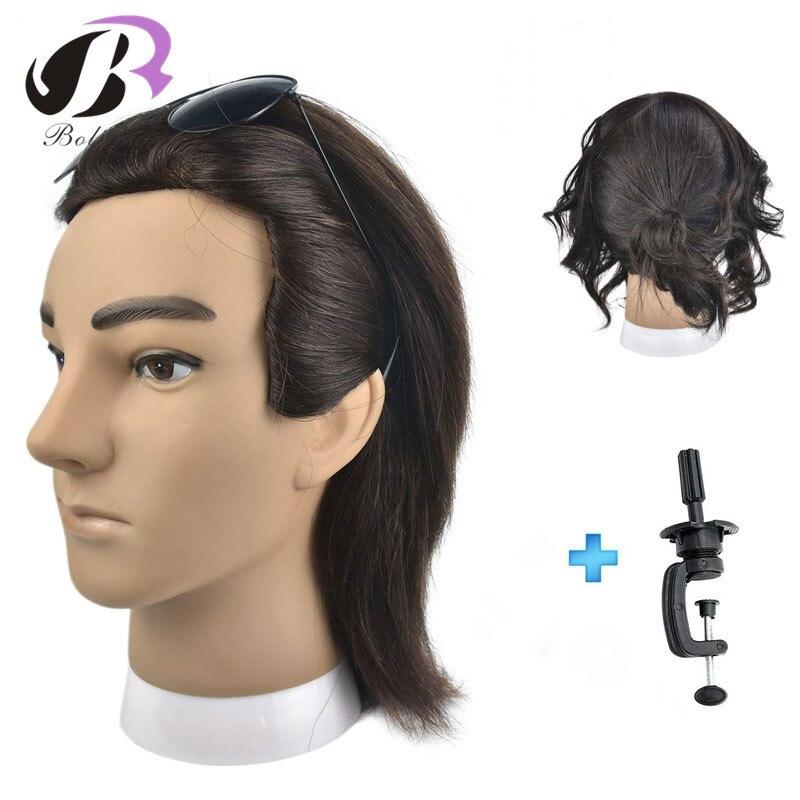 Boli hair 20cm100% Human Hair Men Training Head Male Mannequin Head Hairdressing practice Hair Heads