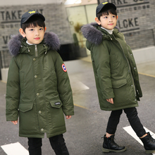 10-16Y Boys Winter Down Jacket Big Children Thick Warm Stand Collar Fur Hooded Coat Classic Armband White Duck Down Jacket