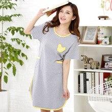 2015 Fashion Women Summer Striped Cotton Sleepshirts Sexy Sleeping Dress Nightgown Women's Home Clothes Sleepwear Camison Mujer