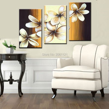 handpainted artwork brown yellow Wall Decor flower Landscape Oil Painting on canvas 3pcs set combination oil picture cheapsimple
