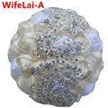 Stunning Peacock Bridal Bouquet Ivory Cream Diamonds Brooch Wedding Bouquets Crystal Flowers Bridesmaid Stitch Bouquets W250