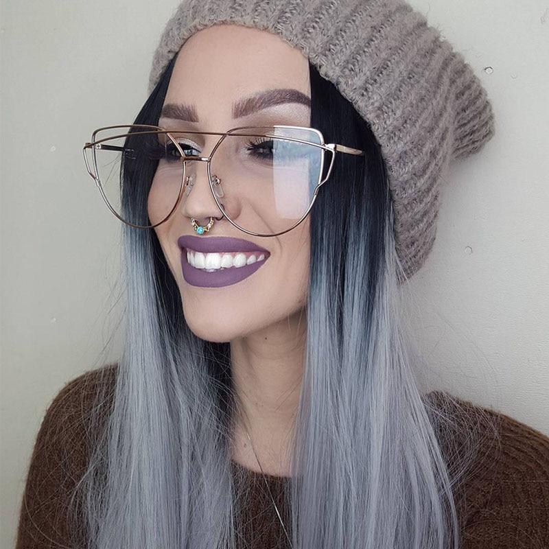 524097f6ac9 Fashion Cat Eye Optical Eye Glasses Women Men Clear Lens Big Metal Glasses  Frame Retro Female Male Goggle Transparent Eyeglasses-in Eyewear Frames  from ...