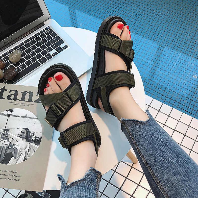 HKJL Yeni 2019 Kadın plaj sandaletleri Yaz Bayanlar Flip Flop Düz sürüş ayakkabısı zapatos de mujer Spor PU Sandalet A035