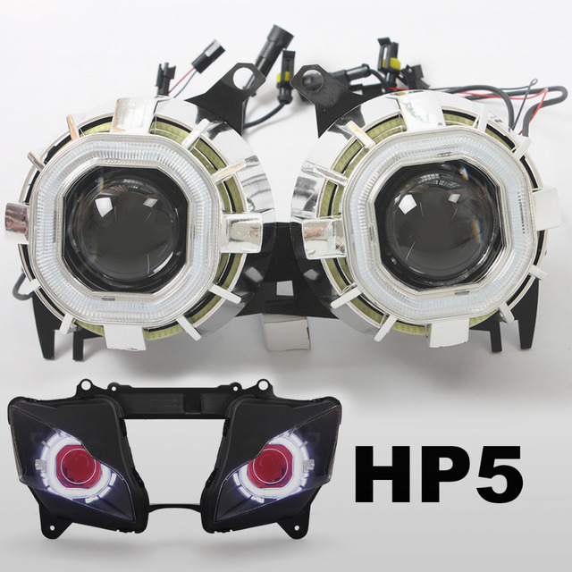 KT Motorcycle Projector Lens Kit Suitable for Kawasaki Ninja ZX-10R ZX10R 2011 2012 2013 2014 2015  Angel Halos Demon Eye Red