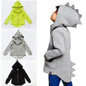 Image 2 - 1 7 T Jungen Mädchen Hoodies Frühling Herbst Oberbekleidung Kinder Dinosaurier Mit Kapuze Sweatshirt Kleidung Kinder Langarm Pullover Tops mantel