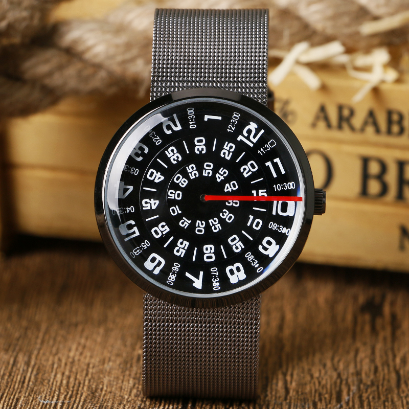 Turntable Case Watch Women Mesh Stainless Steel Strap Mens Wrist Watch Fashion Trendy Unique Women Quartz-watch Student Black daybird stainless steel quartz wrist watch black 1 x lr626