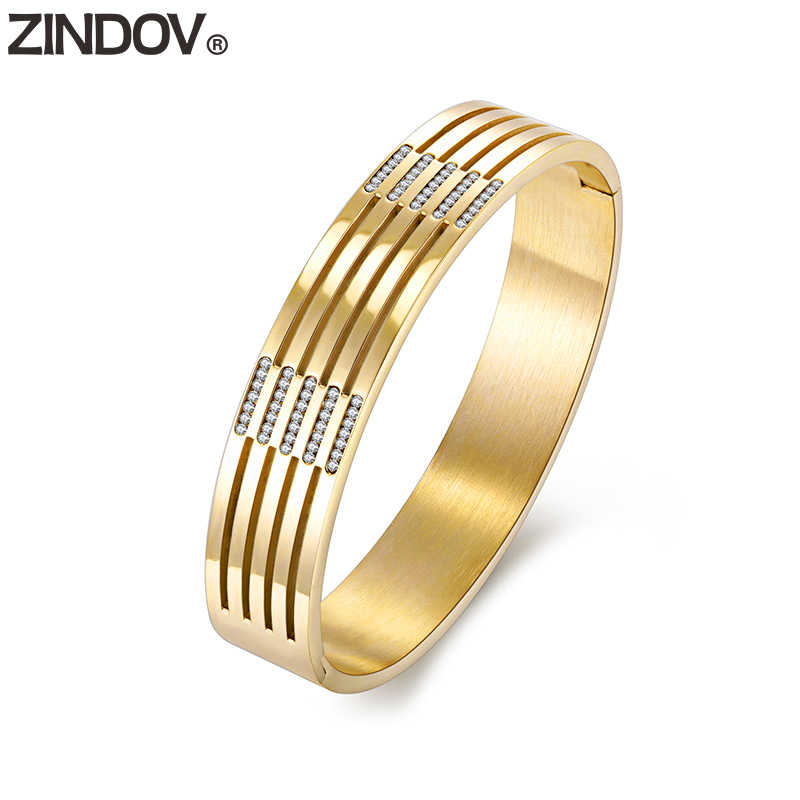 ZINDOV Trendy Jewelry Lady Bracelets For Women Gold Crystal Luxury 316L Stainless Steel Bangles Rose Gold Big Wide Dropshipping